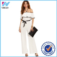 Dongguan Yihao 2016 summer new designs white halter neck elegant jumpsuits fashion tie waist rompers playsuits for women