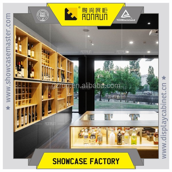 High grade wine store decoration ,wooden wine display cabinet and stands ,used wine store display furniture