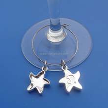 cheap silver starfish key chain with engraved brand logo