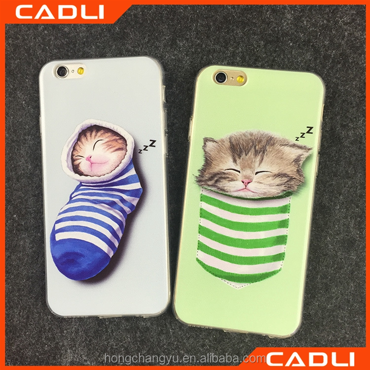 pocket cat 2d sublimation phone case cute mobile phone case for iphone 5 5s SE