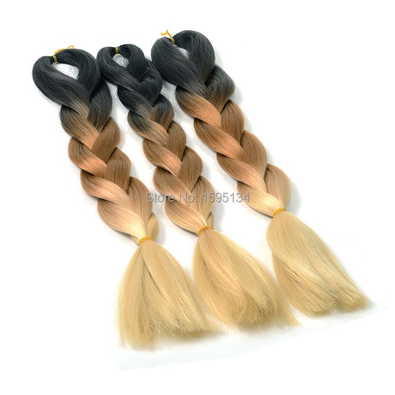 Buy Black Blonde 3 Tones Ombre Hair Extensions Jumbo Braid 3pcs Lot