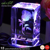 crystal 3d etched Rose crystal wedding gift crystal etched cube