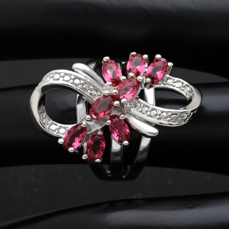 New Arrival Beautiful luxury Valentine's Day gift silver ring bow design red zircon engagement rings
