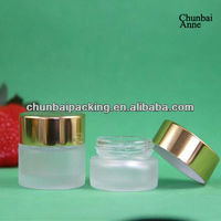 2013 popular hot sale skin care 10g glass jar packaging with gold lid