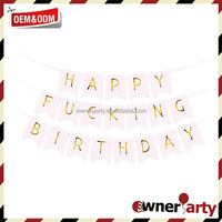 Happy Birthday Signs Birthday Banner Supplier Gold Printing Paper Banner
