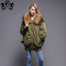 factory low price women winter excellent clothing genuine raccoon fur bombers jacket