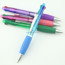 4 colors ball pens with 4 refills inside metal clip grip for school office use