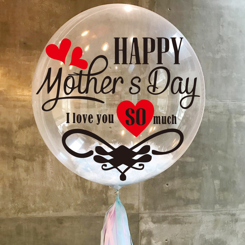 Happy Mother's Day Letter Balloon Sticker Clear Bubble Ball Sticker For Mother's Day Festival Party Decoration