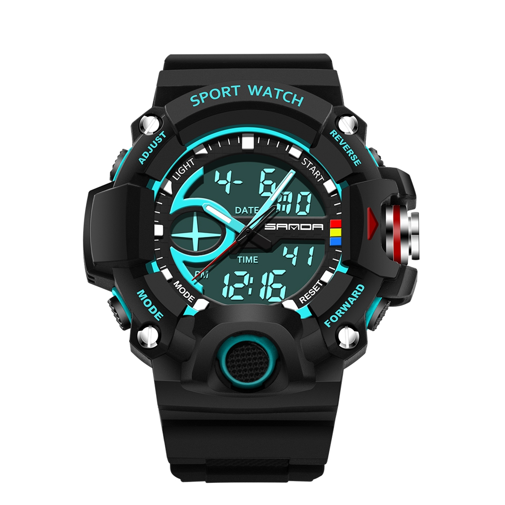 <strong>Men</strong> large dual dial analog digital quartz electronic sport watch multifunction two time zone 24hour military time waterproof