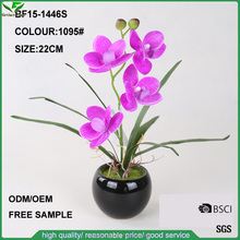 Handmade decorative mini purple artificial butterfly orchid with ceramic pot