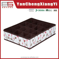 Practical non-woven fabric foldable grids storage box without hard lid,Badroom bin for women socks/underware