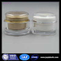 chinese supplier wholesale empty gold round acrylic jars with double wall cream jar 50g 100g 150g 200g