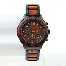 Alibaba Quartz Advance Watches Men Chronograph Stainless Steel and Wood Watch