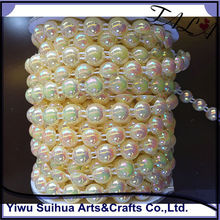 Wholesale AB color flat back plastic pearl chain trimming