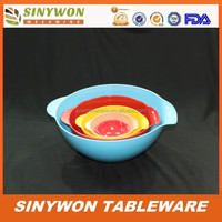 Coloful Different Sizes Food Safety Melamine Plastic Mixing Bowl Sets With Handle