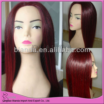 red wine color Human hair full lace wig