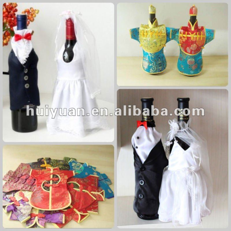 Satin wedding wine bottle cover bag