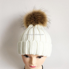 Ladies Fancy Winter Hats with Raccoon Fur Pompom