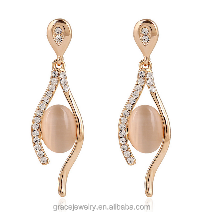 rose gold plated lady style fashion design natural opal earrings for women