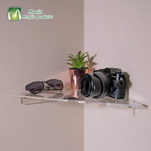 2018 hot selling Clear Decorative Bathroom Bedroom Office Professional Acrylic Corner Floating <strong>Shelf</strong>