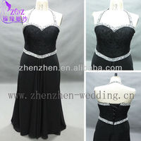 HY-MD027 real pictures black big size dress with beaded halter strap long evening gown for big size women