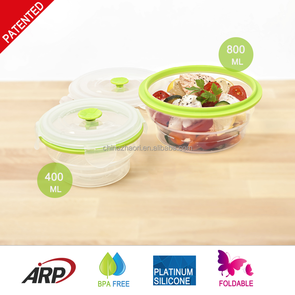 Pp Food Container ~ Ml silicone food container with pp lid platinum