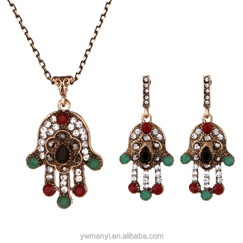 Fashion new arrival evil eye jewelry necklace <strong>set</strong> in zinc alloy for women
