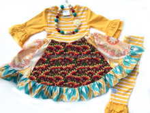 Newest Thanksgiving Turkey Set Lovely Children's Girls Turkey Holiday Thanksgiving Outfit