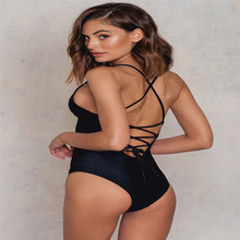 Black Lacing Back Push Up Sexy Monokini Swimsuit,String Monokini