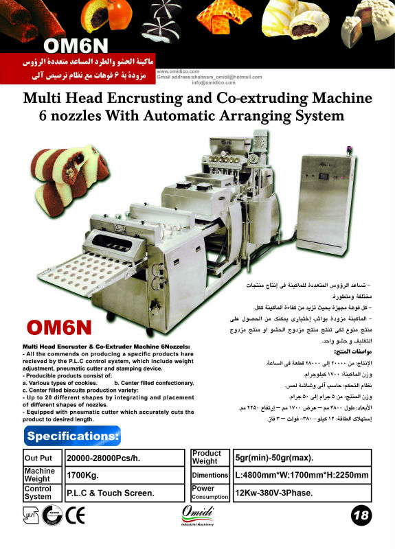 The Automatic Encrusting and Co-Extruding Machine 6 Nozzles