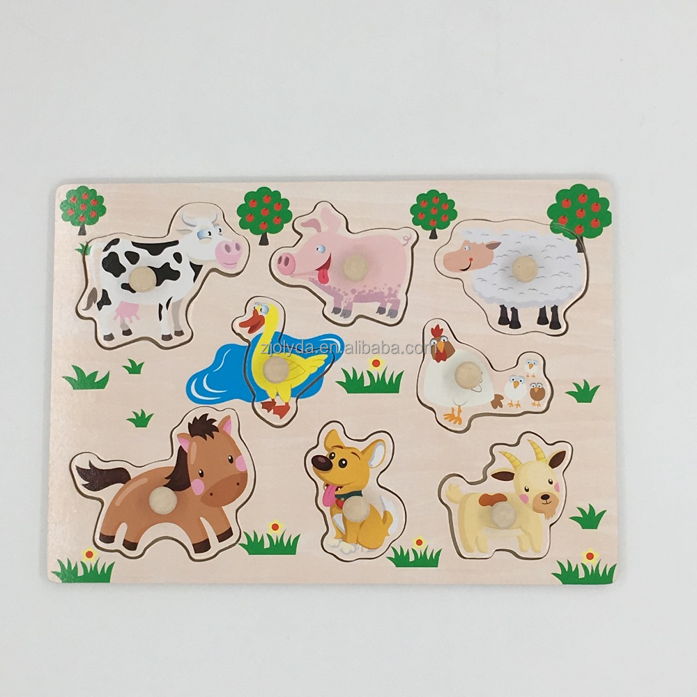 8pcs lovely animal wooden brain teaser puzzle