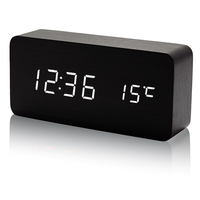 Voice Control USB Charge Time Date Temperature LED Display Digital Table Wooden Alarm Clock