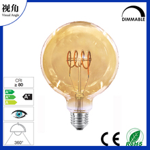 Vintage Flexible filament LED light bulbs with heart shaped G80 Amber