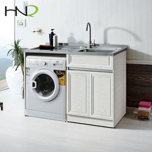 Zero HCHO washing room white laundry stainless steel sink cabinet