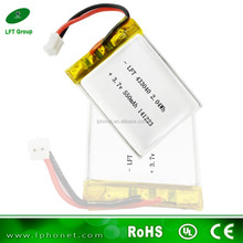 dvd player battery 433040 small li-ion battery 3.7v 550 with lipo cell