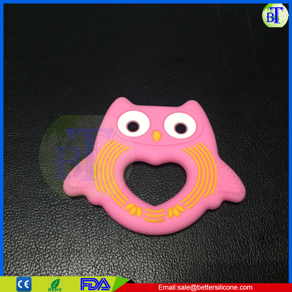 Christmas Non-toxic dishwasher owl safe silicone teether toy custom baby teethers