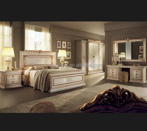 Italian Design White Golden Carving Bedroom Furniture
