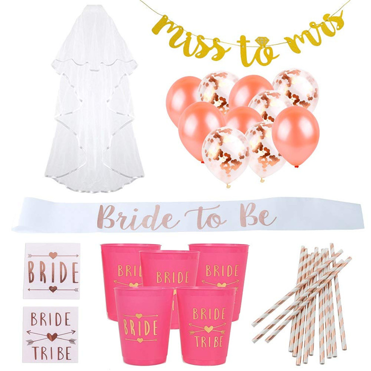 Bachelorette Party Decorations Kit Bridal Party Supplies Bride to be Bridal shower cup Miss to Mrs Banner Bachelorette Party