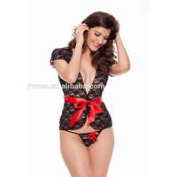 Women Sexy Lingerie Hot Crochet Mesh Hollow Out Baby Doll See-through Mini Chemise Dress Bodysuit Erotic Lingerie Black/Red