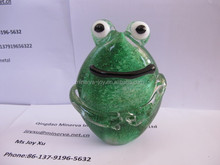 Handmade Glass Craft Ornaments Green Color Frog