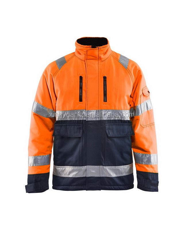 high visibility warm workwear waterproof bomber safety men winter jacket