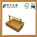 Wholesales handmade unfinished small wooden condiment caddy with handle