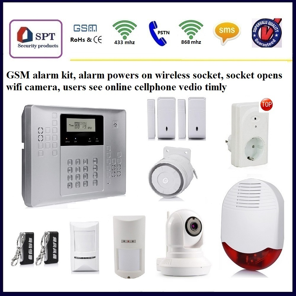Security alarm system, alarm with wifi camera, alarm trigger wireless socket