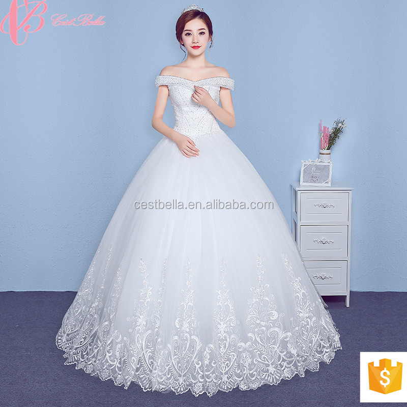 2018 High Quality Gorgeous Under 100 Lace Appliqued Women Wedding Dress Gown Guangzhou