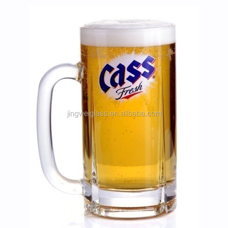 high quality customized logo printing clear beer mugs glass with handle