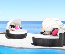Cozy swimming pool rattan round outdoor lounge bed with canopy