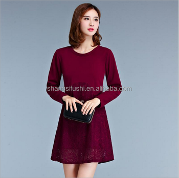 2017 spring latest design sweater , ladies long sleeve crew neck lace bottom sweater dress
