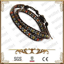 Layered Colorful Beads Brown Leather Bracelet pill box bracelet popular wholesale festival items