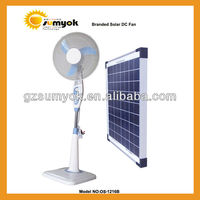 OS-1216B rechargeable solar dc fan 15w for outdoor emergency cooling 12V 16inch stand fan