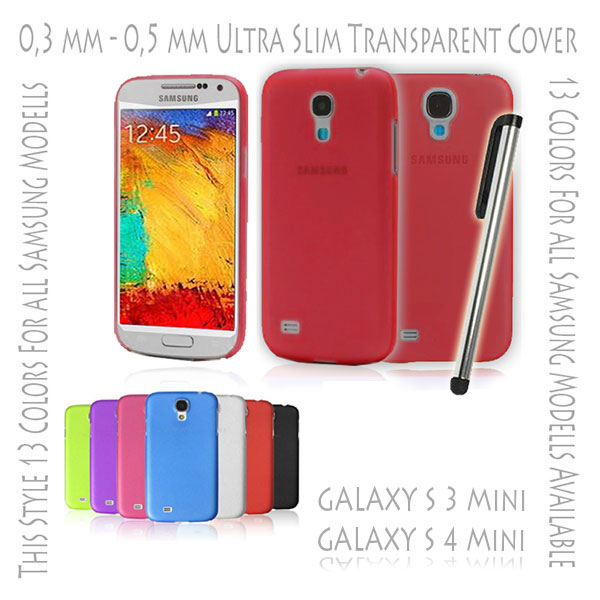 Hard Case Cover Ultra Thin Slim 0,3 mm Transparent Matte for Samsung Galaxy S3 S 3 III Mini i8190 | S4 S 4 IV Mini i9190 Red